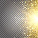 Effekt des Fliegens von Teilgoldfunkeln-Luxusreichen entwerfen Hintergrund Hellgrauer Hintergrund von der Seite Stardust-Funken Lizenzfreie Stockbilder