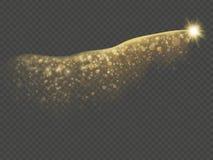 Effekt des goldenen Funkelnhintersternes Funkelnde Konfetti- oder Schimmerglanzwellenspur Überlagerter Gegenstand für neues Jahr  stock abbildung