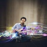 Effekt för elektrisk gitarr fotografering för bildbyråer