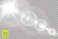 Effekt för genomskinlig för solljus för vektor ljus special signalljus för lins Arkivfoton