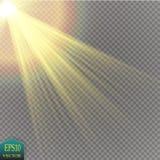 Effekt för genomskinlig för solljus för vektor ljus special signalljus för lins stock illustrationer