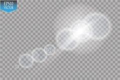 Effekt för genomskinlig för solljus för vektor ljus special signalljus för lins Solexponering med strålar och strålkastaren Arkivfoto