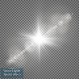 Effekt för genomskinlig för solljus för vektor ljus special signalljus för lins Solexponering med strålar och strålkastaren vektor illustrationer