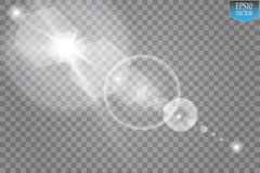 Effekt för genomskinlig för solljus för vektor ljus special signalljus för lins Solexponering med strålar och strålkastaren Royaltyfria Bilder
