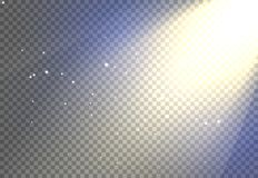 Effekt f?r bakgrund f?r solljussignalljus, gl?dande str?le f?r solljusstr?le p? genomskinlig varm skenilsken blick royaltyfria bilder