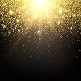 Effekt von den Partikeln, die auf den Goldglanzstaubfunkenluxusdesignreichhintergrund fliegen Der Effekt des Sonnenlichts Stockbilder