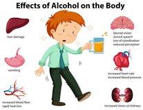Effekter av alkohol på kroppen stock illustrationer