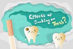 Effekter av att röka på tänder royaltyfri illustrationer