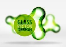 Effekter för bubbla för utrymme 3d för vektor digitala glass och metalliska, Arkivbild