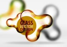 Effekter för bubbla för utrymme 3d för vektor digitala glass och metalliska, Royaltyfri Bild