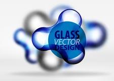 Effekter för bubbla för utrymme 3d för vektor digitala glass och metalliska, Royaltyfria Bilder