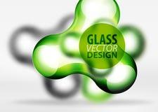 Effekter för bubbla för utrymme 3d för vektor digitala glass och metalliska, Arkivbilder