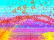 Effekter för suddighet för bakgrund för vågglödfjärilar stock illustrationer