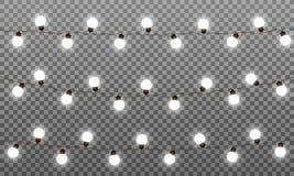 Effekter för vektor för julljus LEDD lampgirland för nytt år och Xmas Isolerade vektorgirlander för vita ljus vektor illustrationer