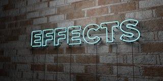 EFFEKTER - Glödande neontecken på stenhuggeriarbeteväggen - 3D framförde den fria materielillustrationen för royalty vektor illustrationer