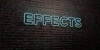 EFFEKTER - realistiskt neontecken på bakgrund för tegelstenvägg - 3D framförd fri materielbild för royalty stock illustrationer