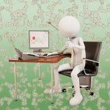Effektiv arbetare, tolkning 3d stock illustrationer