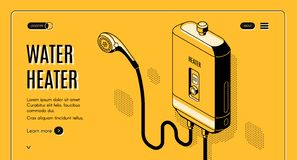 Effektiv website för vektor för vattenvärmeapparat isometrisk stock illustrationer