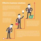 Effektive Geschäftsfinanzlösungen stellten infographic Planungsñ  oncept Ikonen moderne modische flache Vektorillustration ein Stockbild