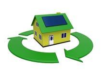 Effektivt hus för energi, tolkning 3d Royaltyfri Foto