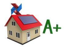 Effektivt hus för energi, tolkning 3d Arkivfoto