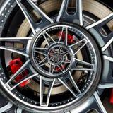 Effektmuster-Hintergrundillustration des Sportwagenautomobilradfelgespeichenzusammenfassung Fractal-Bremsscheibe-Reifenabschlusse stock abbildung