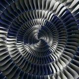 Effektzusammenfassung Fractalmusterhintergrund Spirale der Turbinenschaufel-Flügel gewundener Turbinenhintergrund Tu der industri stockbild