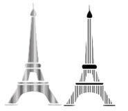 Effel torndesign i svarta linjer vektor illustrationer