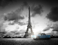 Effel Tower, Paris, France and retro car. Black and white Stock Images