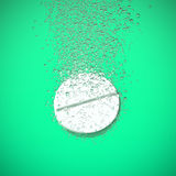 Effervescent tablet dissolving. Effervescent medicine. Fizzy tablet dissolving. White round pill falling in water with bubbles. Green background. 3D illustration Stock Photo