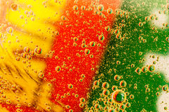 Effervescent tablet in water with bubbles.. stock images