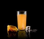 Effervescent tablets and water Stock Photos