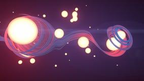 Effet abstrait de trace de traînée du rendu 3d avec des boules d'éclairage illustration stock