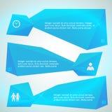 Effet bleu de bordure de triangles de bannière horizontale Image stock