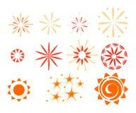 Effet d'isolement sur le fond blanc Étincelles, starbursts et feux d'artifice Photos stock