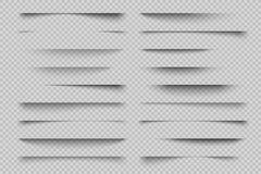 Effet d'ombre de papier Ombres réalistes de diviseur transparent de page, étiquettes de panneau de site Web, ombre de vecteur de  illustration libre de droits