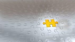 Effet de bourdonnement sur un morceau de puzzle d'or à l'intérieur d'autres morceaux argentés illustration libre de droits