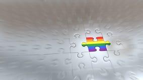 Effet de bourdonnement sur un morceau de puzzle d'arc-en-ciel à l'intérieur de l'autre Piec argenté illustration stock