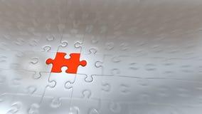 Effet de bourdonnement sur un morceau rouge de puzzle à l'intérieur d'autres morceaux argentés illustration de vecteur