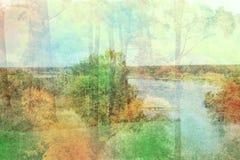 Effet de double exposition des arbres automnaux, rivière photographie stock libre de droits