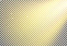Effet de fond de fusée de lumière de Sun, poutre rougeoyante de rayon de lumière du soleil sur l'éclat transparent et chaud d'écl illustration de vecteur