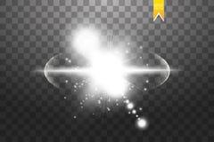 Effet de l'explosion, volant dans différentes directions des particules, lentille de blanc de lueur Étoile d'illustration de vect Illustration de Vecteur
