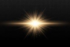 Effet de la lumière élégant d'or sur un fond transparent foncé Rayons magiques d'or et scintillements d'or volants Explosion lumi illustration stock