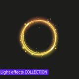 Effet de la lumière de cercle d'or, effet de la lumière lumineux d'or Images libres de droits