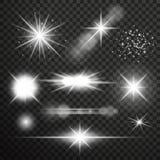 Effet de la lumière de lueur transparente Éclat d'étoile avec des étincelles Photographie stock libre de droits