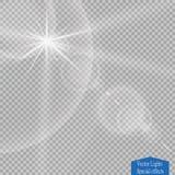 Effet de la lumière de lumière du soleil de vecteur de fusée spéciale transparente de lentille Éclair de Sun avec les rayons et l Photos libres de droits