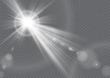 Effet de la lumière de lumière du soleil de vecteur de fusée spéciale transparente de lentille Photographie stock