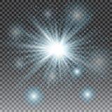 Effet de la lumière de lumière du soleil de vecteur de fusée spéciale transparente de lentille Scintillement bleu Éclat d'étoile  Photo stock