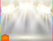 Effet de la lumière de projecteur d'or de vecteur sur le fond transparent Image libre de droits