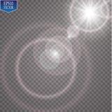 Effet de la lumière de lumière du soleil de vecteur de fusée spéciale transparente de lentille Éclair de Sun avec les rayons et l illustration de vecteur